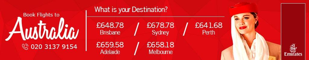 Flights to australia with Emirates