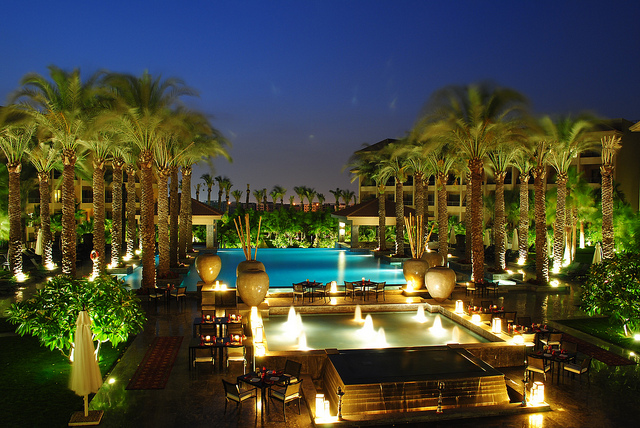 Dusit Thani Lakeview Cairo Poolside view at night