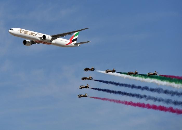 Emirates 777 flyover at Dubai Airshow
