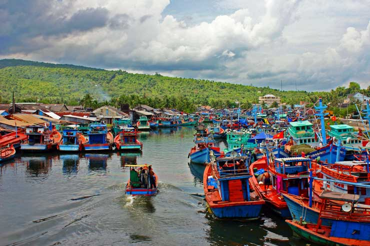 Fishermen boats in a river on Phu Quoc Island, Vietnam