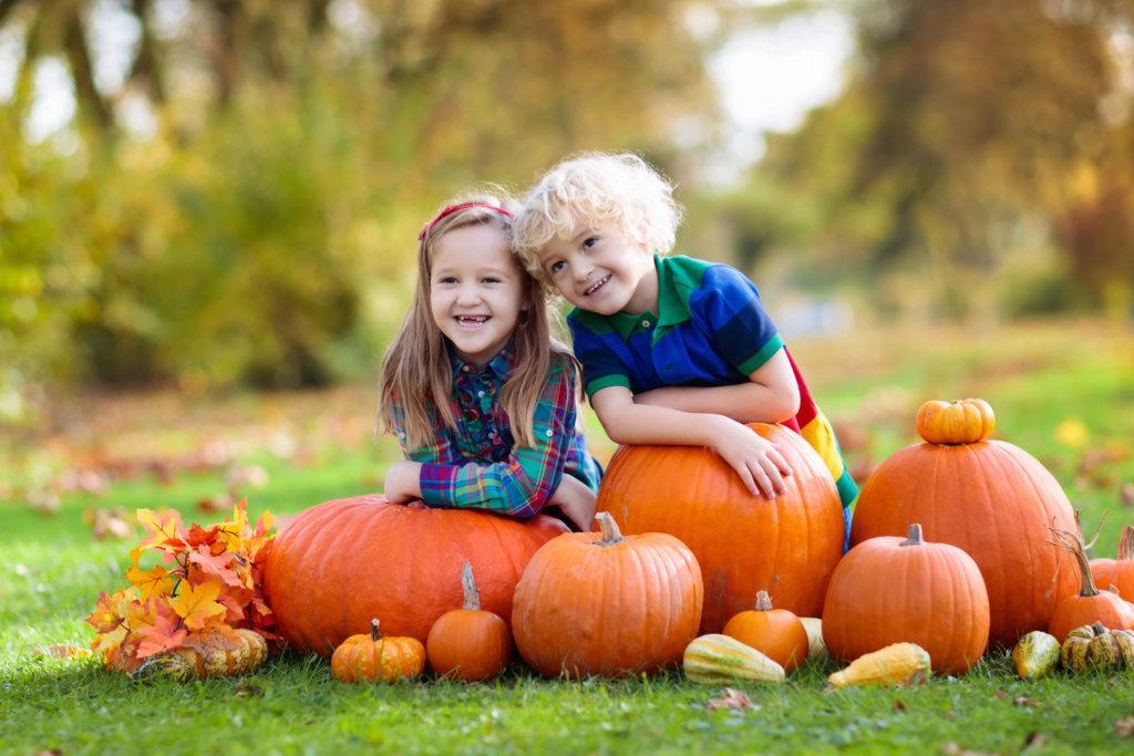 happy kids and pumpkin festival