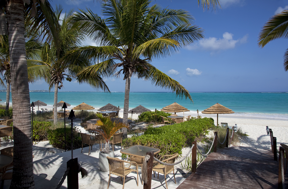 A restaurant on Grace Bay Beach, Providenciales, Turks and Caicos Islands