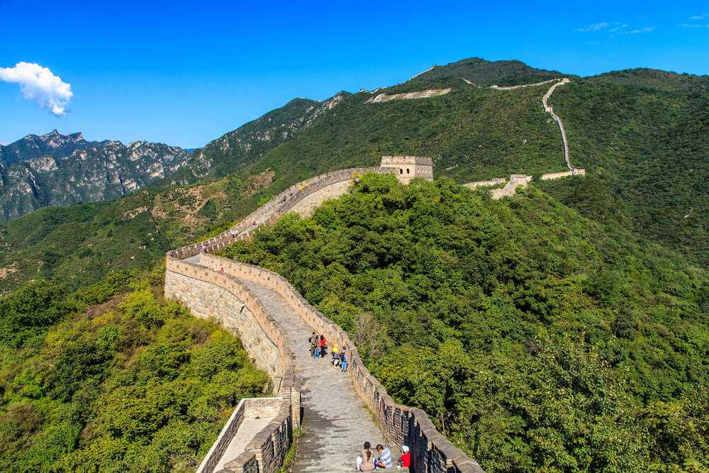 Great wall of China on a sunny day