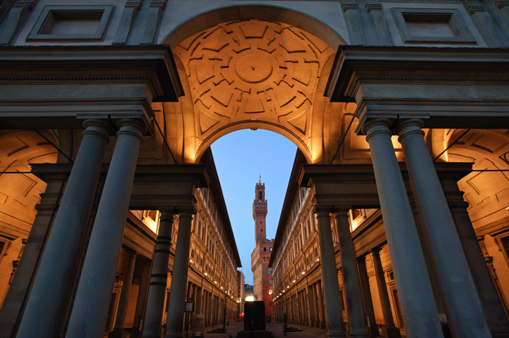 Uffizi museum with its remarkable arcade in Florence, Italy