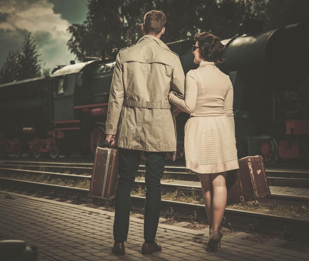 couple train travel