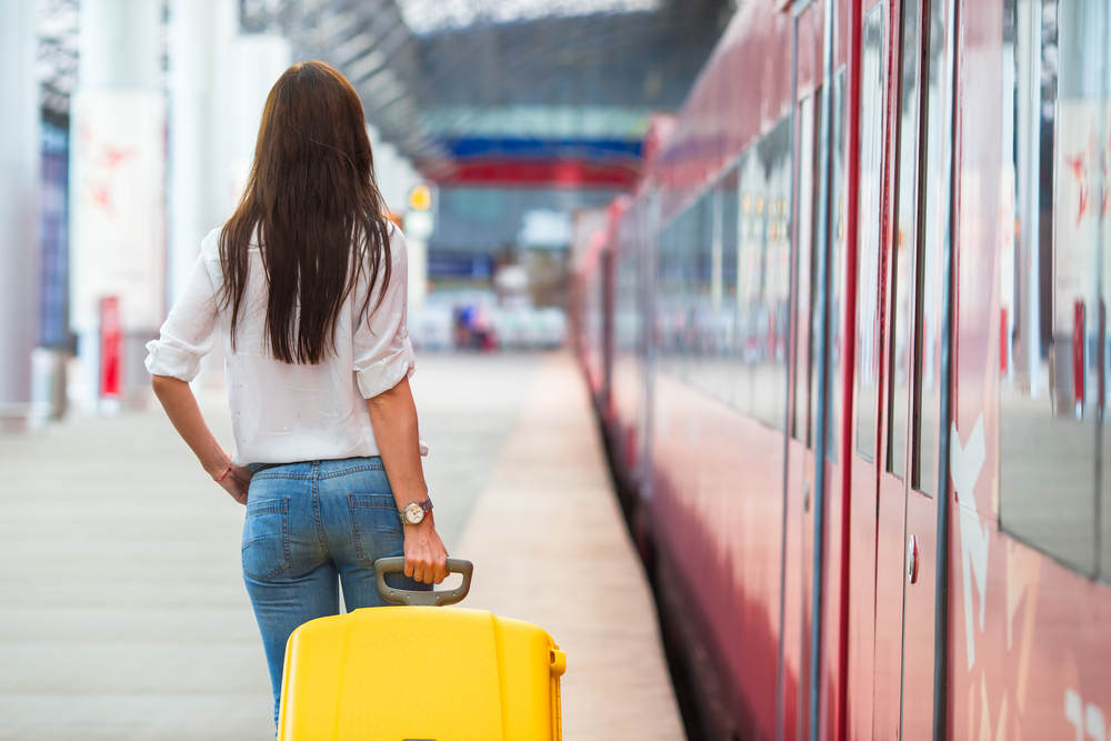 train travel girl with luggage